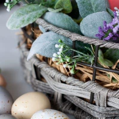 Spring Centerpiece with Velvet Easter Eggs