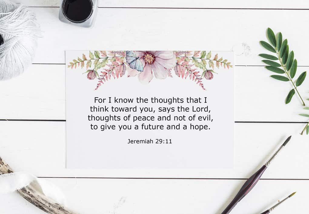 sunday be stills gods thoughts verse card on shiplap with paint brush twine ribbon and inkwell