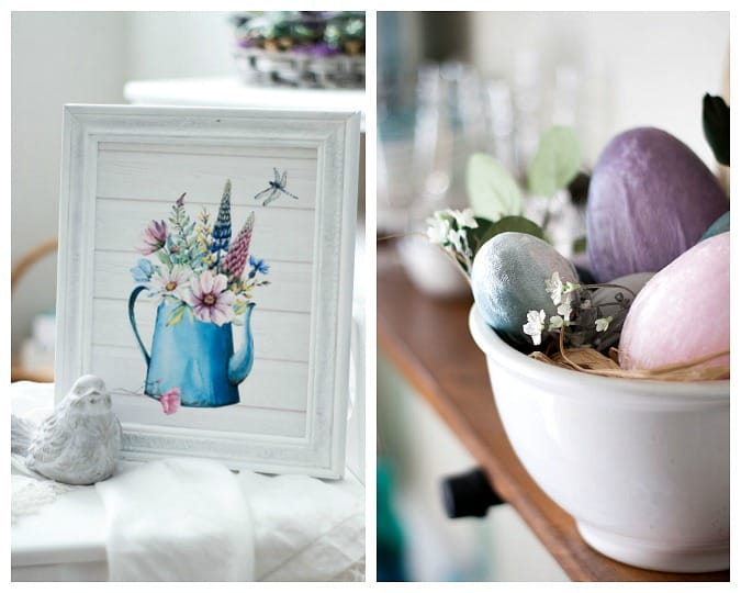 homestyle gathering 13 watering can printable with bird on white table and velvet eggs in bowl on shelf