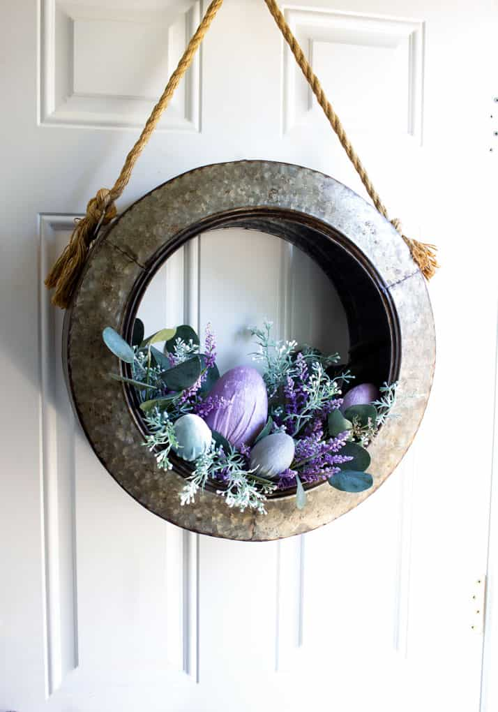spring decorating ideas using velvet easter eggs galvanized tire wreath with florals and velvet eggs