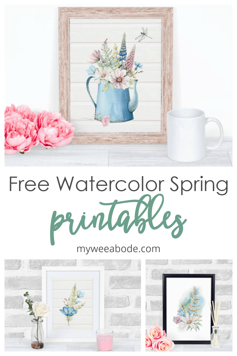 free spring watercolor wall art watering can with spring flowers on surface with pink flowers and coffee mug