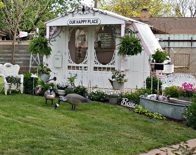 she shed in backyard with galvanized water feature and decoy geese