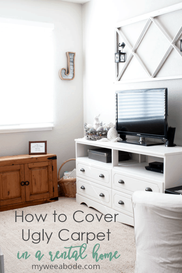 how to cover ugly carpet rug reveal living room with large window furniture and jute rug