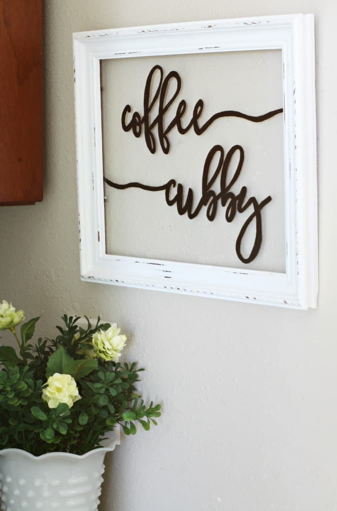 homestyle gathering 15 your homekeeping destination window sign that says coffee cubby and yellow flowers on counter
