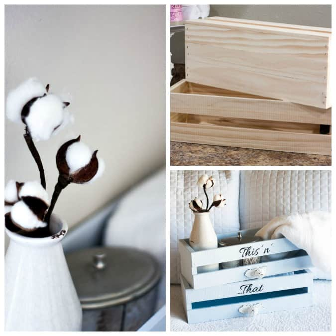 homestyle gathering 19 photos of painted crates and cotton stems on white linens