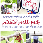 small porch decor red white blue with plants lantern candles and garland