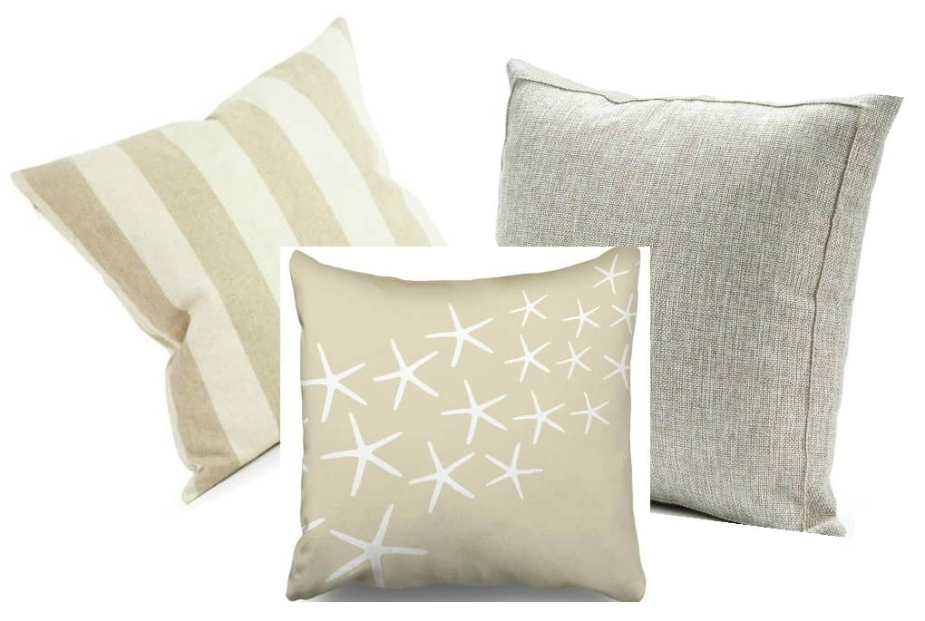 affordable spring summer pillow picks three pillows in different prints in neutral variations