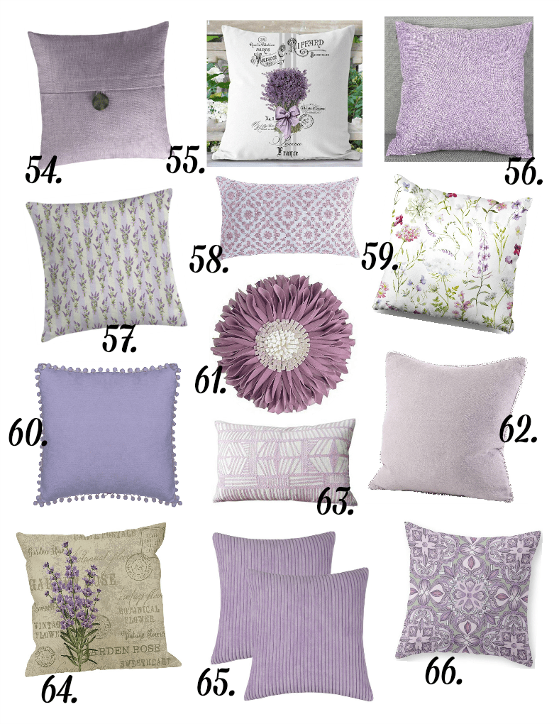 pillows in different prints in lavender variations