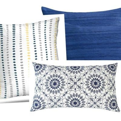affordable spring summer pillow picks three pillows in different prints in blue variations