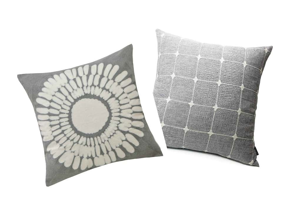 affordable spring summer pillow picks three pillows in different prints in gray variations