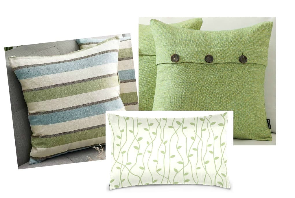 affordable spring summer pillow picks three pillows in different prints in green variations