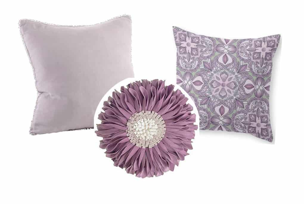 affordable spring summer pillow picks three pillows in different prints in lavender variations