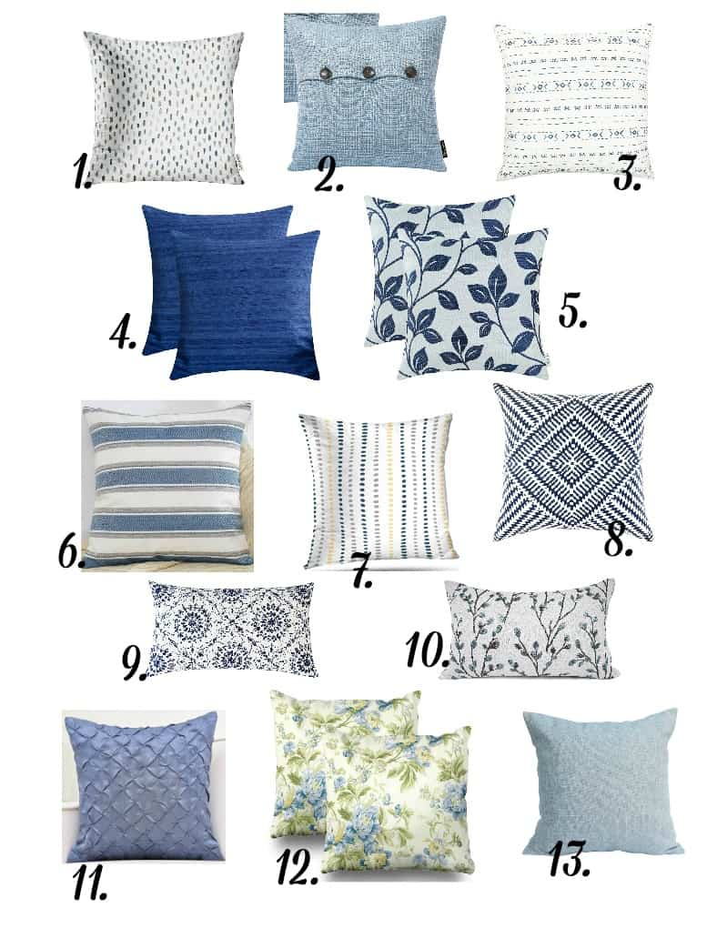 pillows in different prints in blue variations