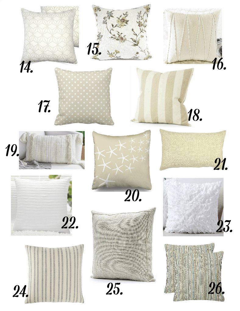 pillows in different prints in neutral variations