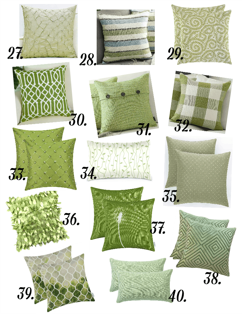 pillows in different prints in green variations