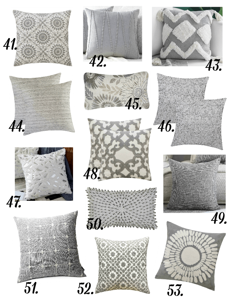 pillows in different prints in gray variations