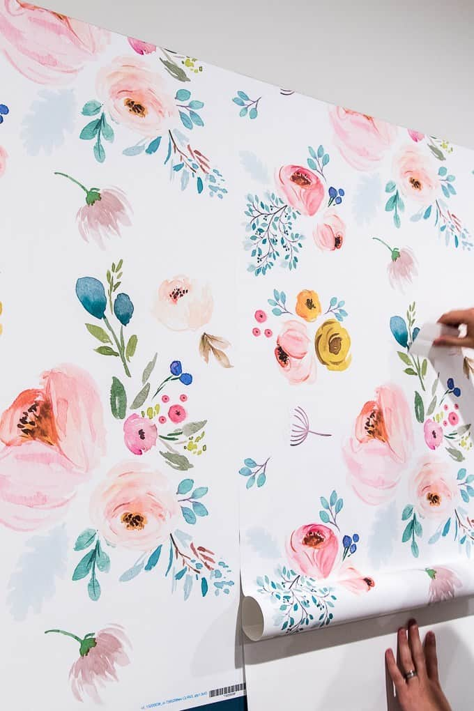 apartment decor hacks floral wallpaper on wall