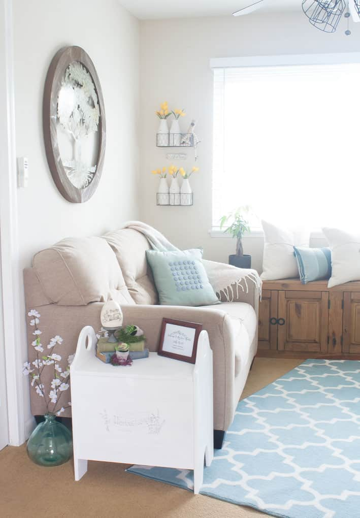 create temporary accent wall living area with furniture and decor