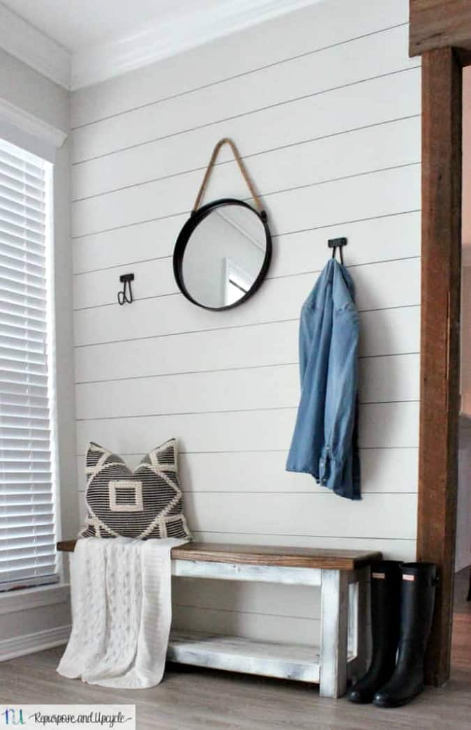 create temporary accent wall entryway with faux shiplap bench and mirror