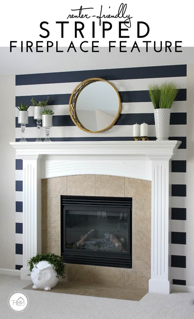 create temporary accent wall fireplace with striped wall paper and decor on mantel