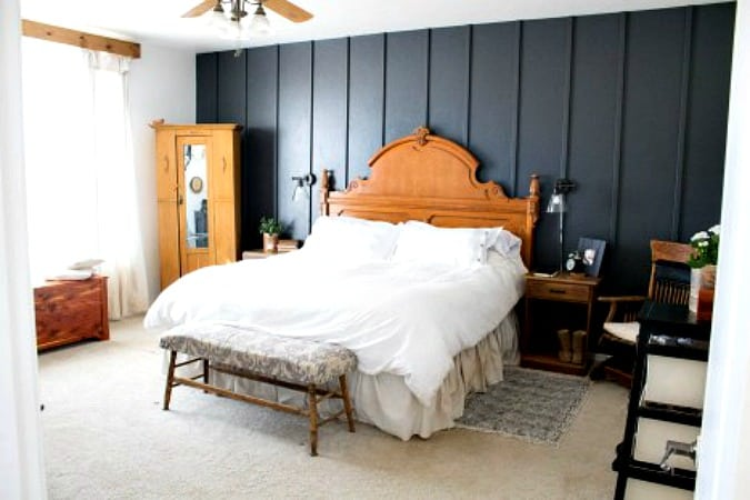 create temporary accent wall bedroom with furniture and accent wall