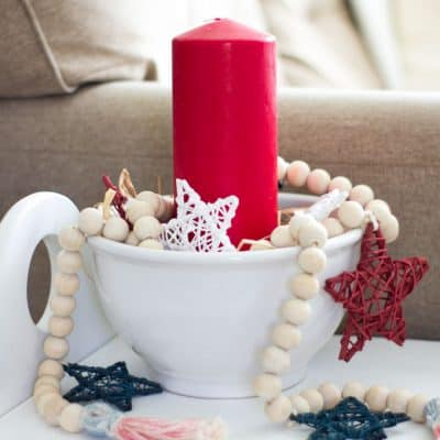 How To Make a Patriotic Wood Bead Garland With Stars