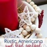 diy wood bead garland with various photos of wood bead craft