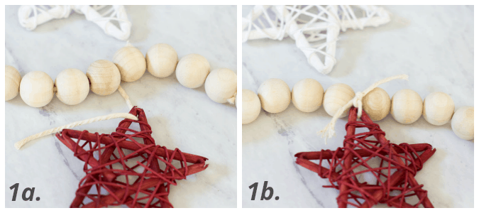 diy wood bead garland stars four photos with numbers for instructions to make bead garland