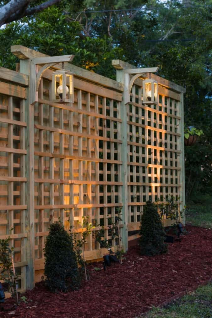 homestyle gathering 18 trellis with lighting set in yard area