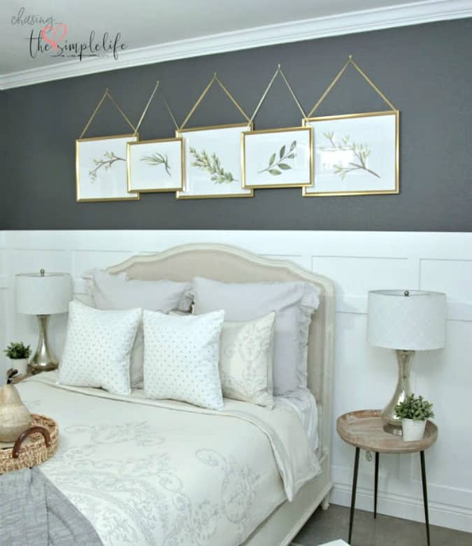 gray and white bedroom with elegant decor and board and batten walls