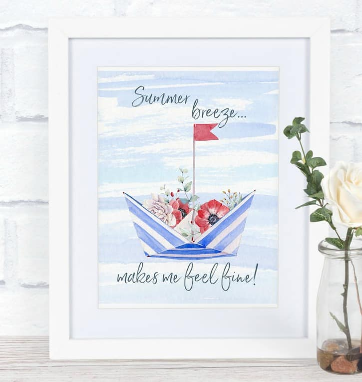 free summer watercolor printable nautical hat with flowers in frame and vase with rose