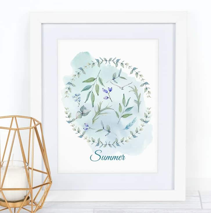 free summer watercolor printable summer wreath with title and candle holder