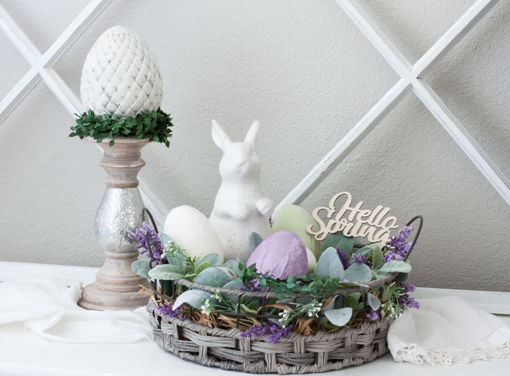 spring vignette with velvet Easter eggs and spring decor with wooden window pane
