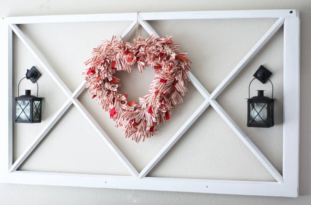 how to decorate a window pane for all seasons heart wreath window pane and lantern on wall