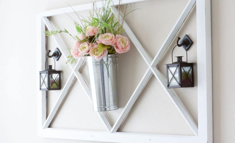 how to decorate a window pane for all seasons flowers in a pail window pane and lantern on wall