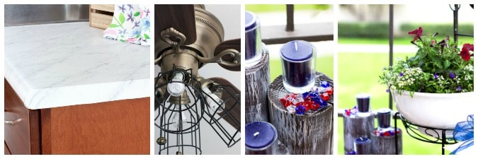 tuesday turn about 2 link party photos of cabinet and counter ceiling fan candle on wood pilings and white bowl with flowering plants