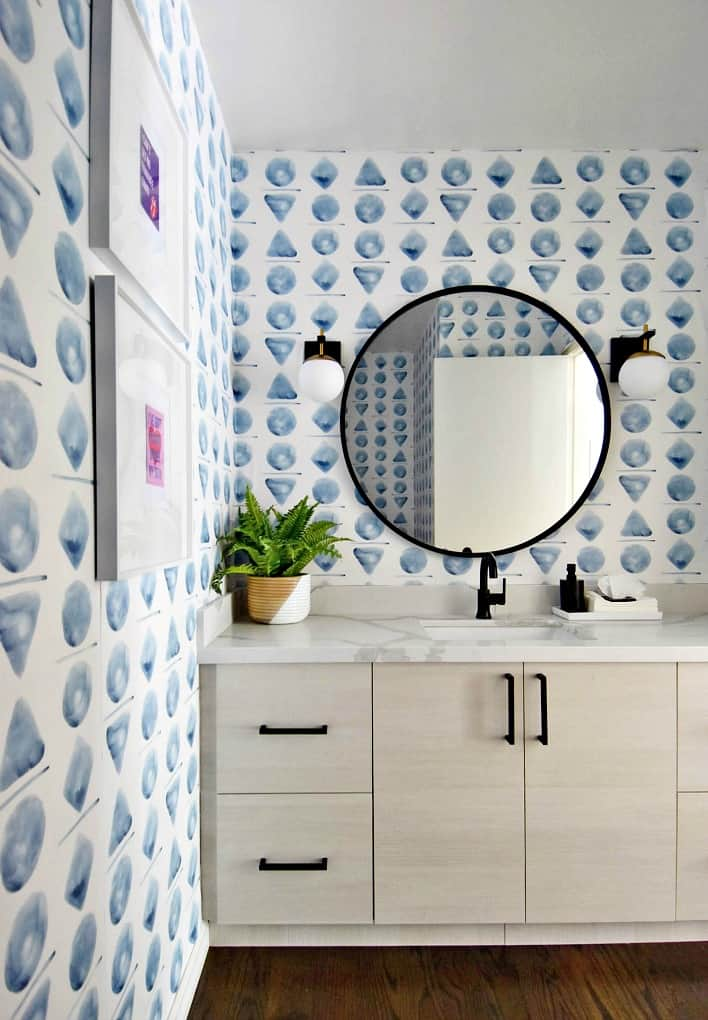 tuesday turn about 6 modern bathroom with watercolor wallpaper in blue and white
