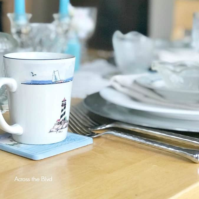 tuesday turn about 9 table setting with plates and dishes in blue and white