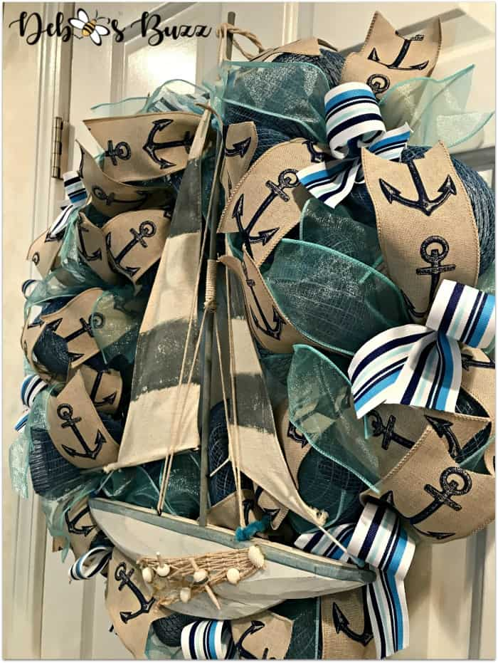 tuesday turn about 9 nautical wreath with boat