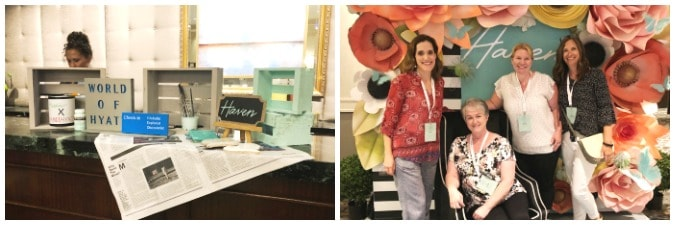 tuesday turn about 10 photo of hotel counter with decor from Haven and photo of women standing in front of flower wall