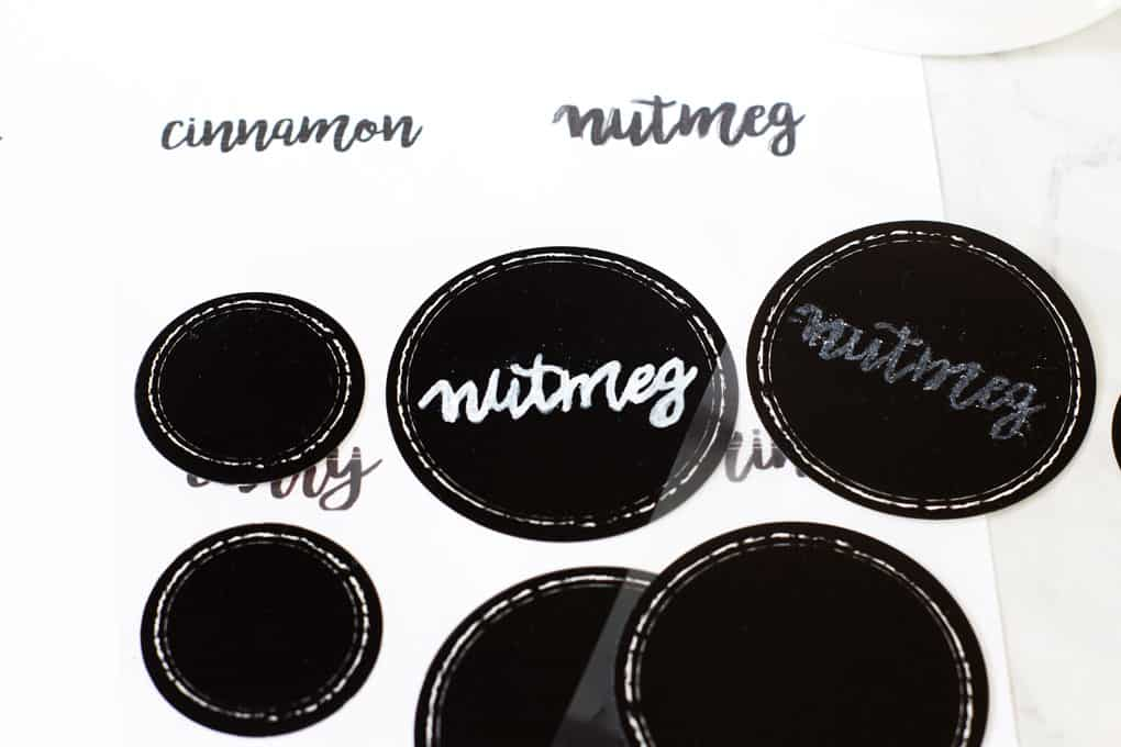 diy chalkboard font labels nutmeg written on black label