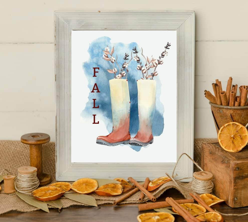 watercolor printable art for fall framed print of rain boots and cotton stems