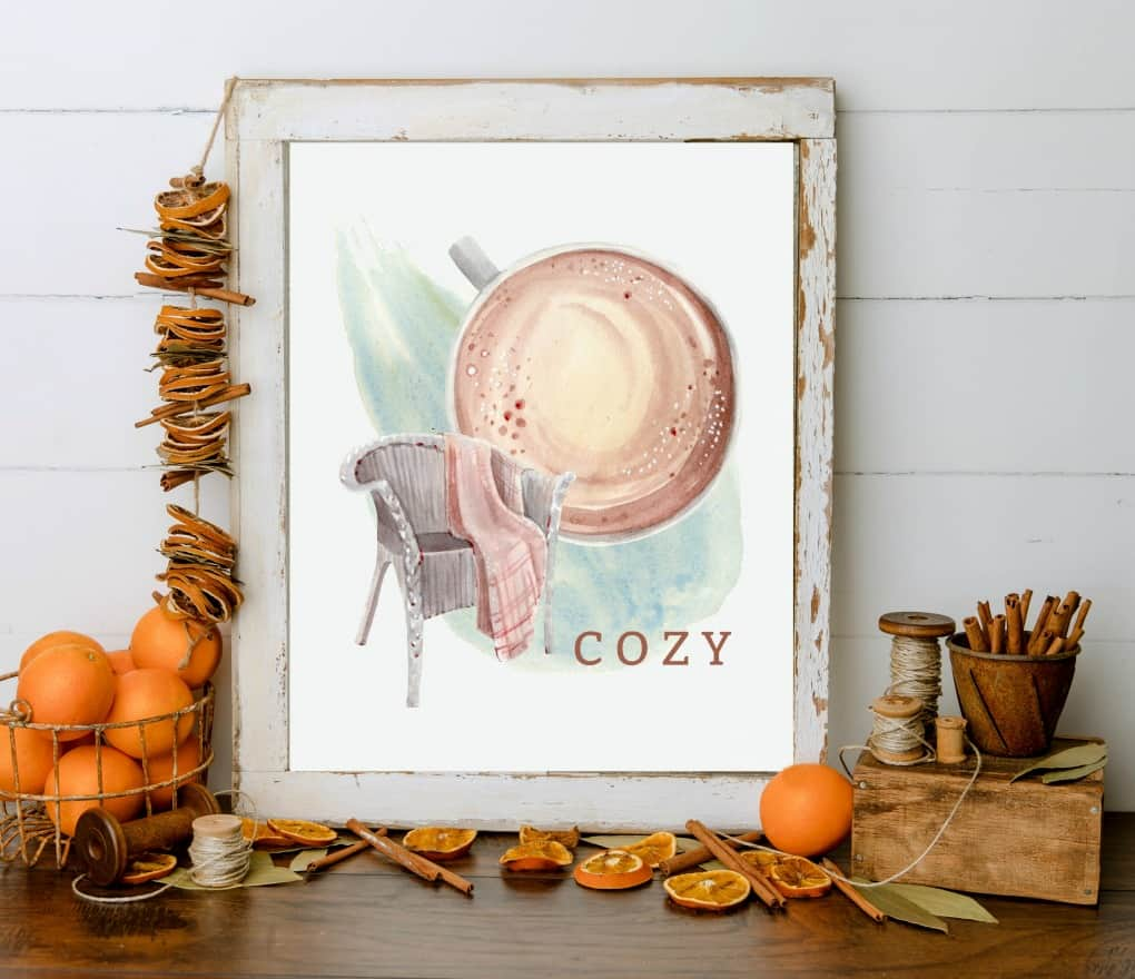 watercolor printable art for fall framed print of chair blanket and coffee cup