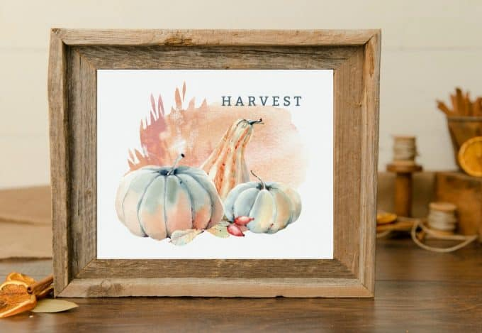 watercolor printable art for fall pumpkins titled harvest
