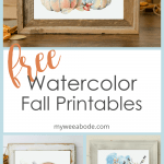 watercolor printable art for fall pumpkins titled harvest
