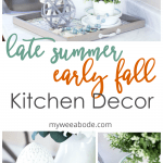 late summer early fall kitchen decor vignette on kitchen counter with tray hydrangeas greenery and other decor elements