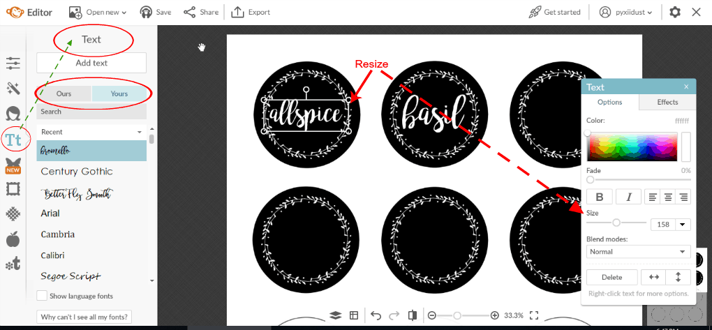make chalkboard labels using computer photo of picmonkey tutorial