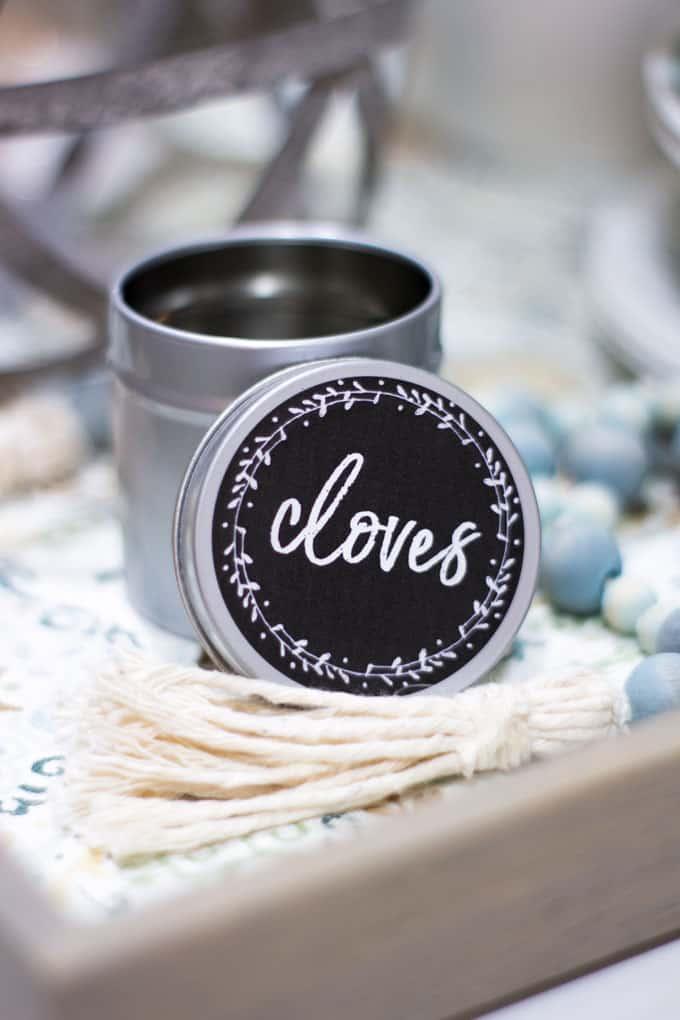 cloves spice jar on tray with tassel