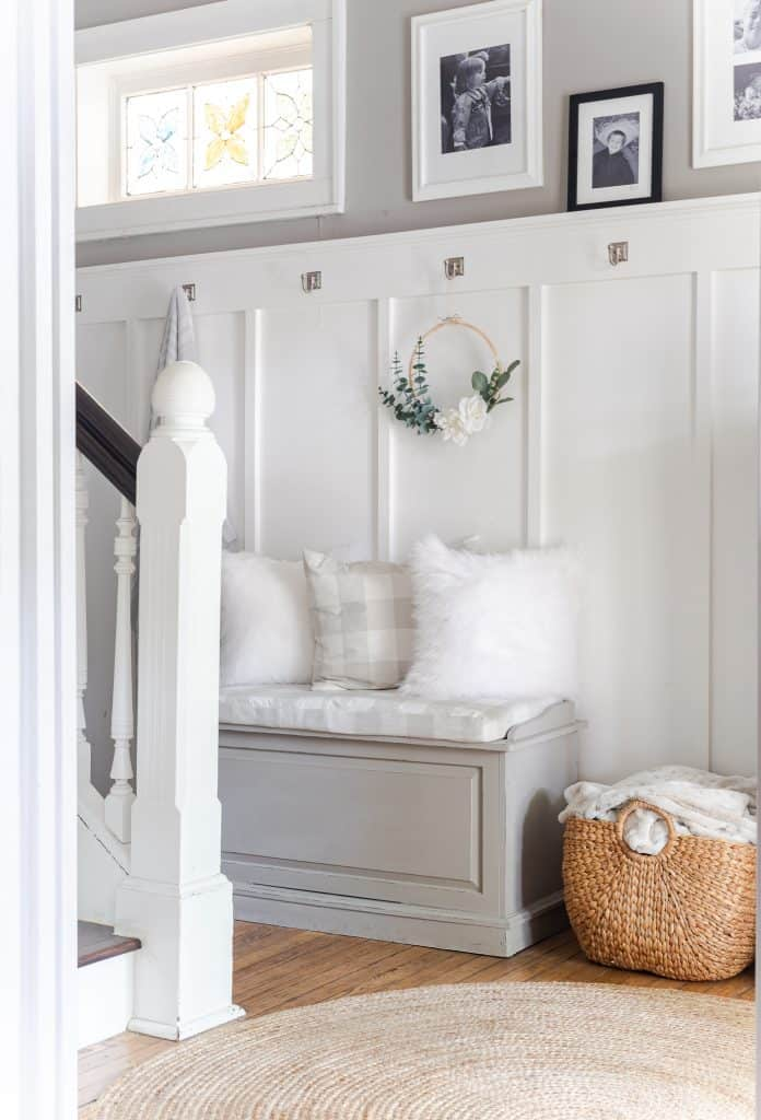 tuesday turn about 12 summer home tours entry way bench with board and batten and lovely home decor items