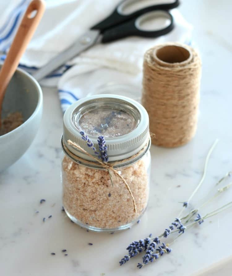 lavender sugar scrub with twine and craft tools